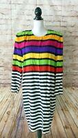 Vintage LESLIE LUCKS Striped 80's Rainbow Dress size 12