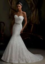 UK Lace White/Ivory/ Red/pink Mermaid Wedding Dress Bridal Gown size 6-16