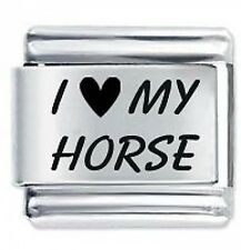 I LOVE MY HORSE * Daisy Charm by JSC Fits Classic Size Italian Charms Bracelet