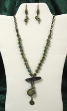 """Handcrafted Necklace and Earring Set One Of A Kind Bohemian mixed media 30"""""""