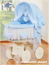 My Sweet Baby Luxus Stubenwagen Bollerwagen Herzchen XXXL blau mit Moskitonetz