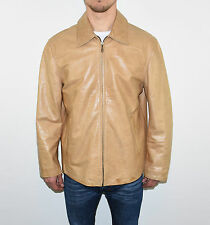 Vintage Brown Leather RIVER ISLAND Loose Hips Length Men's Coat Jacket Size M