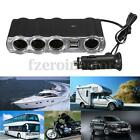 2 USB Port Car Cigarette Lighter 4 Way Socket Splitter Charger DC 12V TR