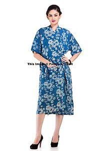 Floral Women Nightwear Sexy Lingerie Cotton Dress Sleepwear Robes Block Printed