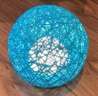 Rattan Ball LED Colour Changing Table Desk Bedside Night Light Lamp Decor Blue