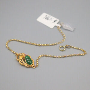 New Pure 18K Yellow Gold Rolo Link Chain with Grade A Jadeite Bead Bracelet