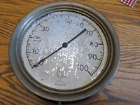 "ASHCROFT LARGE STEAM TRAIN GAUGE METER BRASS CAST IRON 10"" RAILROAD ANTIQUE VTG"