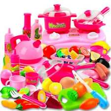 Pretend Play Kitchen Set for Kids 42 Piece Pink Cooking Bake Food Toys for Girls