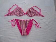 George stripey underwired bikini set Size 14 DD Top Size 18 Bottoms