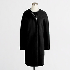 J Crew Womens Collarless Dress Coat Zip Jacket size 6, Black $228 - B7193