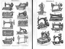 Nähmaschinen I+II Veritas Pfaff Viktoria Phönix Schneider nähen  Stich v. 1908