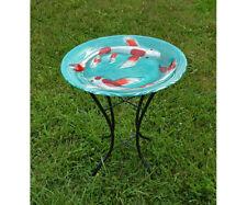 Koi Pond Glass Birdbath w/stand