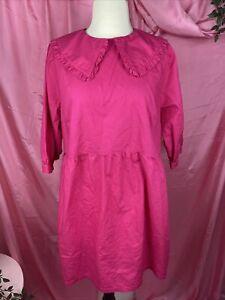 H&M Babydoll Hot Pink size Large Pilgrim Mini Dress Ruffle Loose