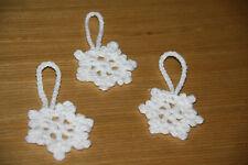 3 x HANDMADE CROCHET WHITE SMALL SNOWFLAKE CHRISTMAS DECORATIONS