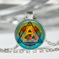Triquetra photo Tibet silver dome Glass Cabochon Necklace chain Pendant #517