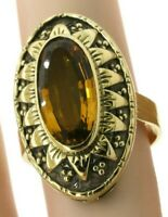 Antique heavy 14K gold 4.46CT 16 X 8mm Oval citrine solitaire cocktail ring