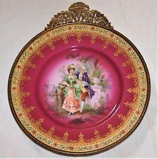 Vintage Czechoslovakian Bohemia Porcelain DecorativePlate with Bronze frame.