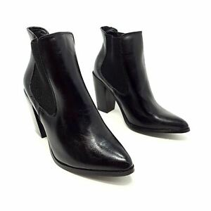 B You Black Chelsea Ankle Boots Shoes Block Heel Pointed Toe UK 6 EU 39