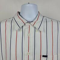 Faconnable Blue Red White Striped Mens Dress Button Shirt Size 2XL XXL
