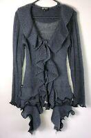 Caroline Morgan grey knit cardigan long sleeve ruffle detail size Small