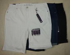 NEW Gloria Vanderbilt City Roll Up Down Womens White Blue Black Denim Shorts 8-1