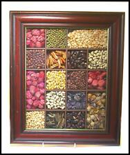 Vintage kitchen collage seeds grains flower shadow box picture rustic country