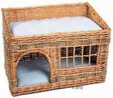 GATTO IN TESSUTO CESTO DI VIMINI DEN Gattino soffice per Animale Domestico Letto cuscini due piani Sleep finestra
