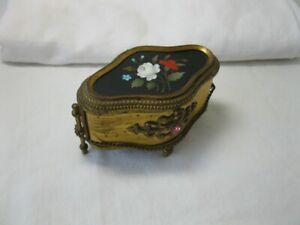 Pietra Dura Jewelry Box Casket Florence Italy Ormolu Gilt c1890 Rare