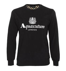 NWT AQUASCUTUM London SWEATSHIRT crewneck logo black cotton luxury Italy M