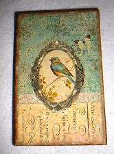 "KEEPSAKE BOOK BOX~Wood~Antiqued~SONGBIRD~Lined~Magnetic Clasp~8.5"" By 5.5"""