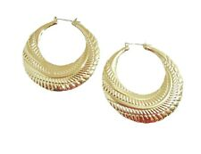 Big Hoop Earrings, Gold Silver Bamboo Hoop Earrings Door Knockers  ,3 Inch