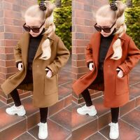 Children Kids Baby Girls Long Sleeve Winter Autumn Woolen Windproof Coat Jacket