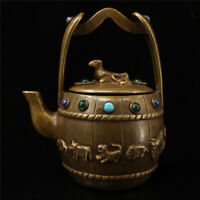 """6.30"""" Chinese pure copper inlay gem Turquoise Handmade Zodiac teapot wine pot"""