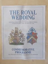 DAILY MIRROR ROYAL WEDDING PROGRAMME 2011 PRINCE WILLIAM & KATE MIDDLETON