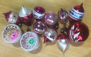 12 VINTAGE GLASS CHRISTMAS TREE BAUBLES DECORATIONS ASST SHAPES