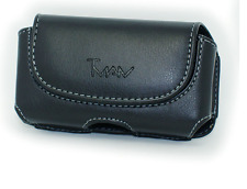 Leather Pouch Belt Holster w Clip for LG Optimus Fuel L34c (Fits w Rubber Case)