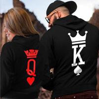 Men Women Hoodies Jumper Sweater Top King and Queen Crown Couples Sweatshirts