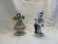 ANTIQUE GERMAN PORCELAIN FIGURINES MAN & WOMAN