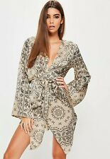 cream silky printed kimono sleeve shift dress s6 Missguided RRP35£