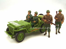 JEEP WILLYS U.S. ARMY VERSION VERT OLIVE 1942 + 4 FIGURINES 1/18 triple9