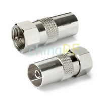 4 x Coax Socket Female to F Connector Adaptor - Convert Aerial Male to F Plug