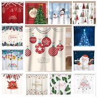 Christmas Shower Curtain Fabric Bathroom Curtain Decoration as Photo Backdrop