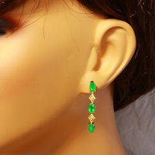 3.60 Carat Natural Emerald 14K Solid Yellow Gold Diamond Earrings
