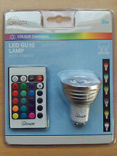 3w LED Colour Changing GU10 Bulb Lamp Remote Flash Strobe Fade Smooth Functions