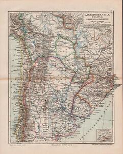 Antique map. SOUTH AMERICA. ARGENTINA. BOLIVIA. CHILE. URUGUAY. PARAGUAY. c 1905