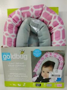 NEW in Box Goldbug 2-in-1 Infant Baby Car Seat Head Support Pink, White