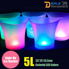 5L Colorful LED Light Ice Bucket Champagne Wine Drinks Beer Ice Cooler Bar Party