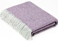 BRONTE HERRINGBONE HEATHER THROW Pure New Shetland Wool Blanket Rug Lilac Purple