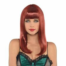 Ladies Auburn Red Straight Long Wig Full Fringe Fashion Cosplay Fancy Dress