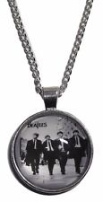"""The BEATLES Rock Band Logo GLASS DOME Pendant Necklace with 20"""" Chain"""